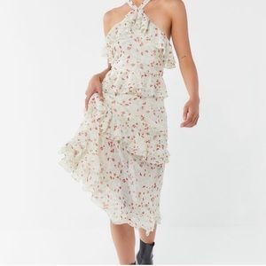 Urban Outfitters Floral Halter Ruffle Midi Dress